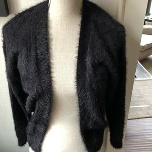 NWT H&M Divided Black faux fur cropped cardigan